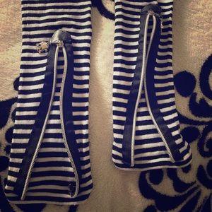 Black & White Stripe Leg Warmers
